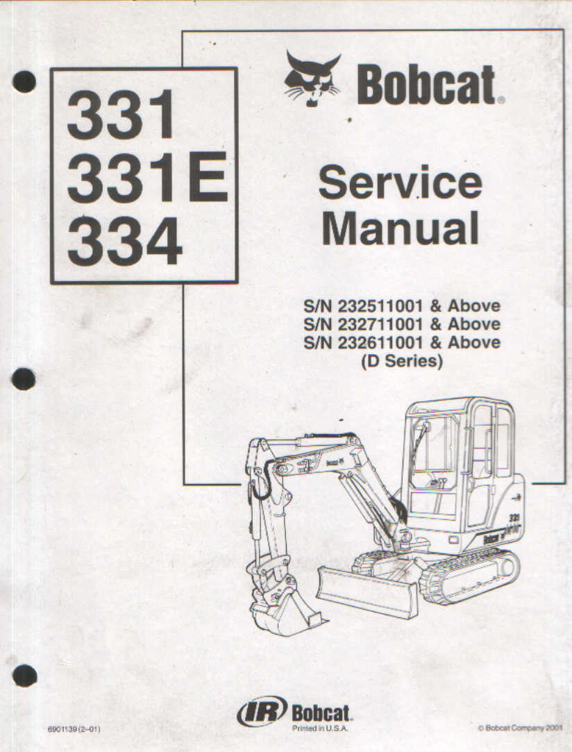 Bobcat Excavator 331 331e 334 Service Workshop Manual