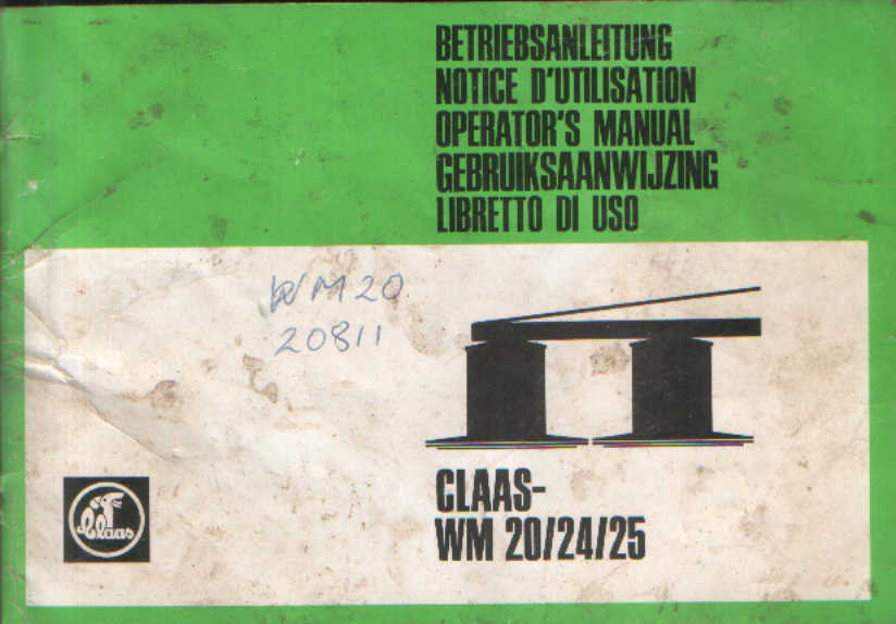 Claas Mower Wm20 Wm24 Wm25 Operators Manual border=
