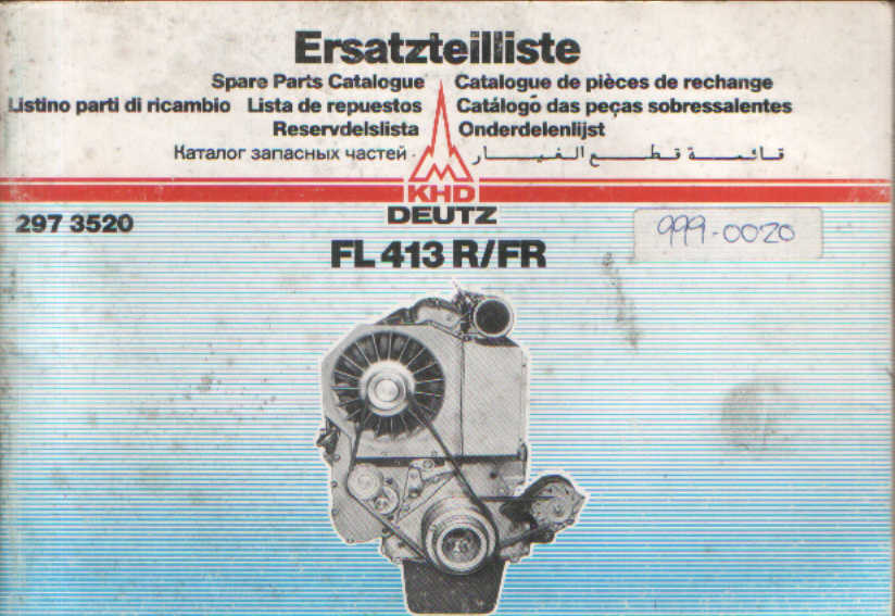 Deutz Engine FL 413 R/FR Parts Manual