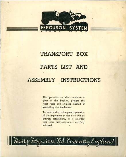 Ferguson Transport Box : Ferguson transport box parts manual with assembly instructions