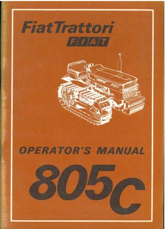 Fiat Crawler Tractor 805c Operators Manual