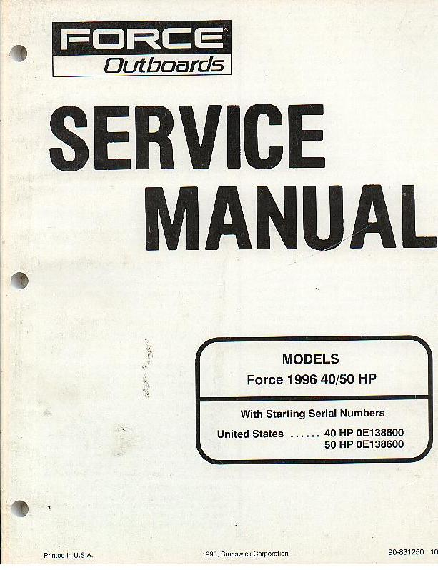 force outboards force 1996 40 50 hp workshop service manual