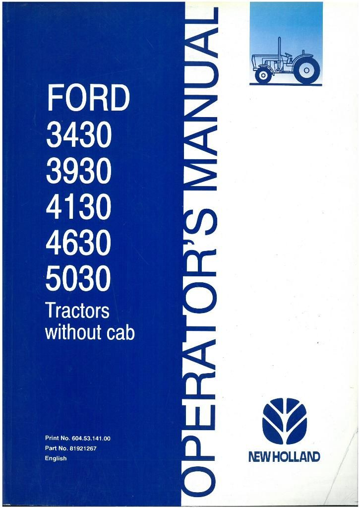 Ford New Holland Tractor Operators Manual Tractors Without Cab Original Manual Dated Dec P