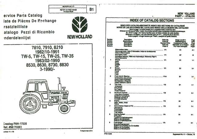 Ford Nh Tractor 7810 7910 8210 Tw5 Tw15 Tw25 Tw35 8530 8630 8730 8830 Parts Manual