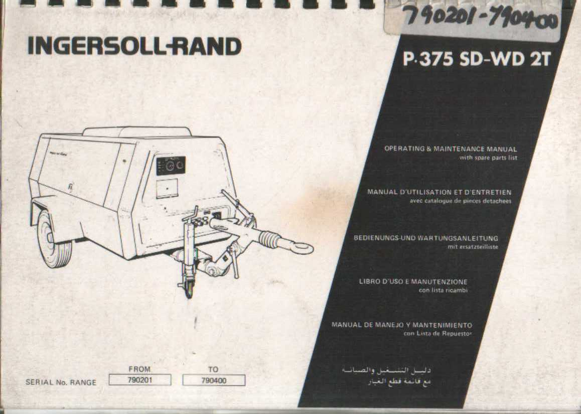 ingersoll rand compressor p375 sd wd 2t operators maintenance manual with parts list