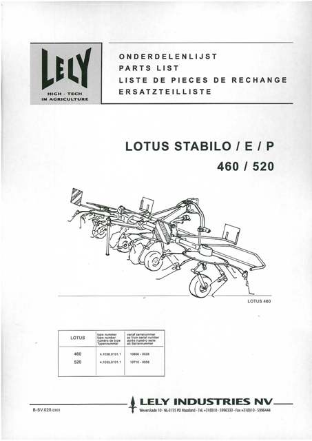 Lely Lotus Stabilo E P 460  U0026 520 Parts Manual