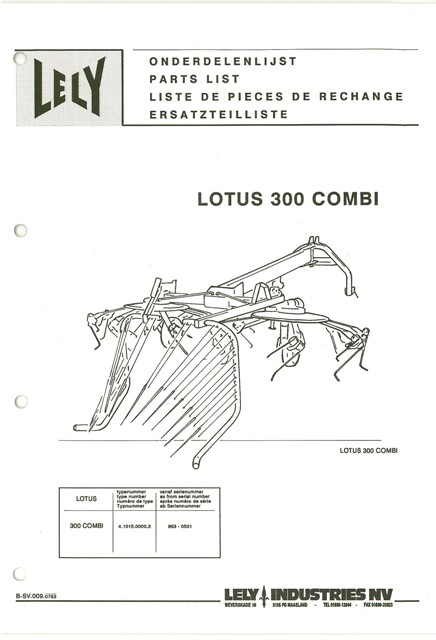 Lely Tedder Lotus 300 Combi Parts Manual