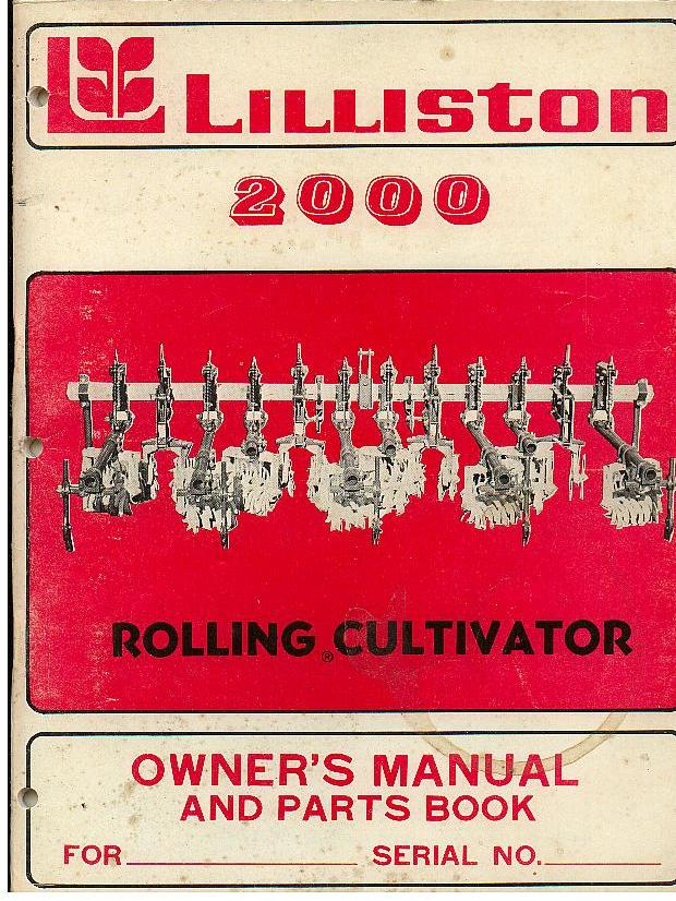 Rolling Cultivator Parts : Lilliston rolling cultivator operators manual with