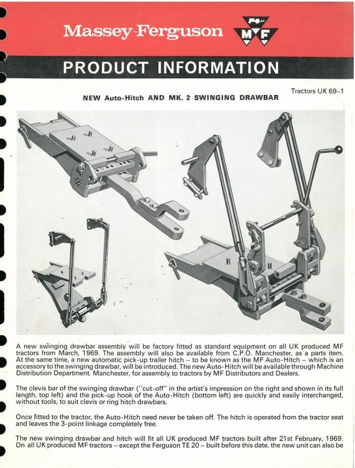 Price Auto Sales >> Massey Ferguson Tractor Auto-Hitch & MK.2 Swinging Drawbar Product Information Brochure