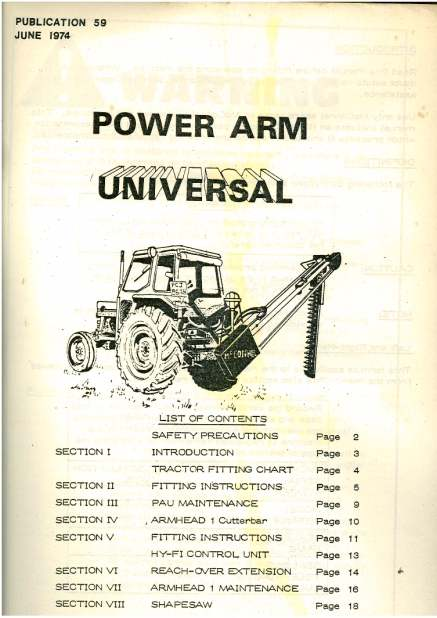 McConnel Power Arm Universal Operators Manual with Parts List .