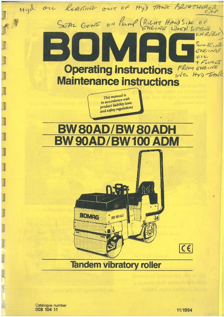 bomag tandem vibrating roller bw80ad bw80adh bw90ad bw100adm rh agrimanuals com BOMAG 900 Roller BOMAG Tandem Roller