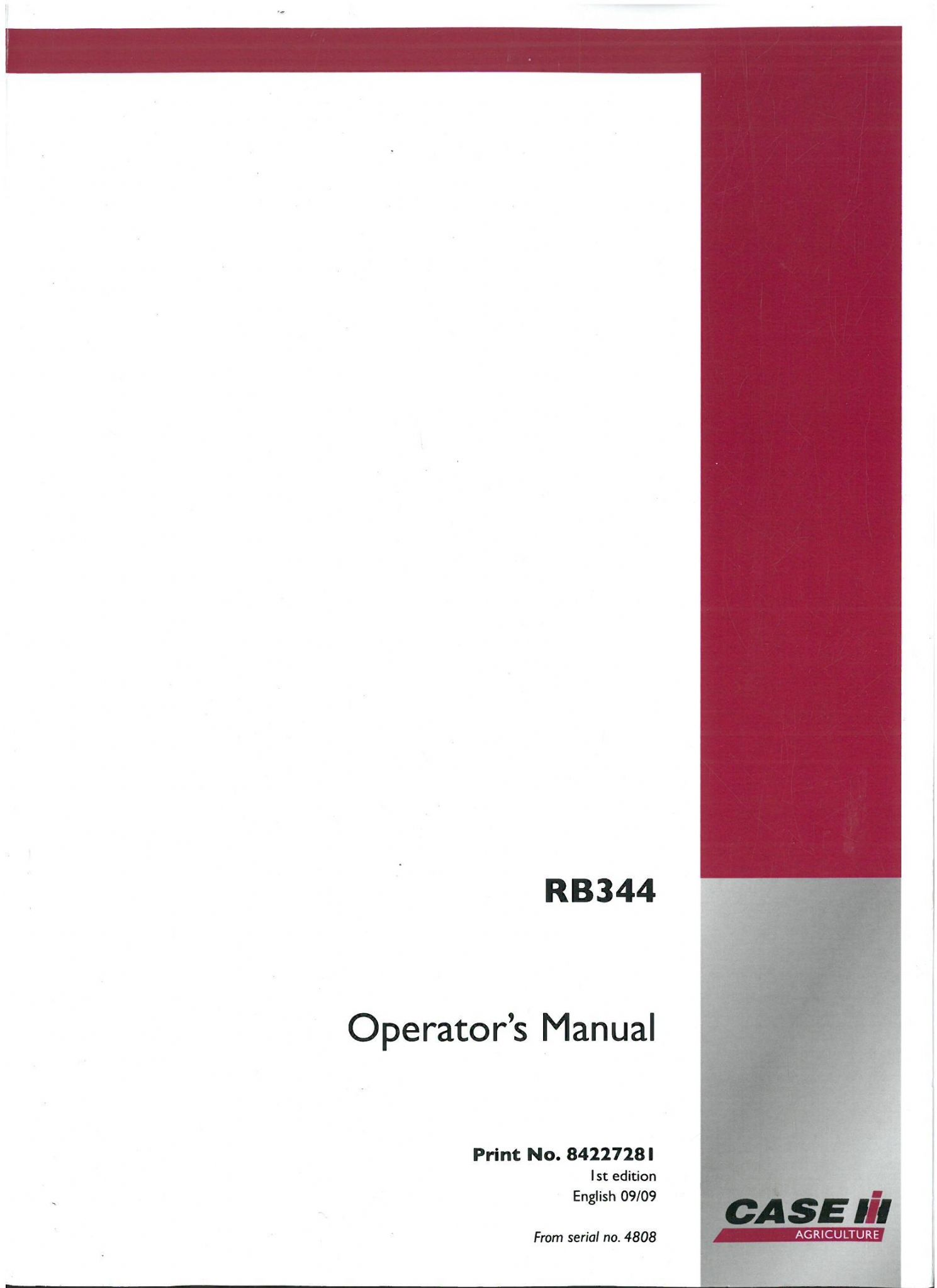 Case IH Round Baler RB344 Operators Manual - RB 344