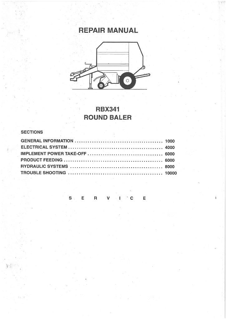 Case IH Round Baler RBX341 Workshop Service Repair Manual - RBX 341