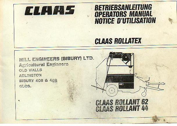 claas round baler rollant 44   62 rollatex net wrap  claas rollant 44 manual pdf