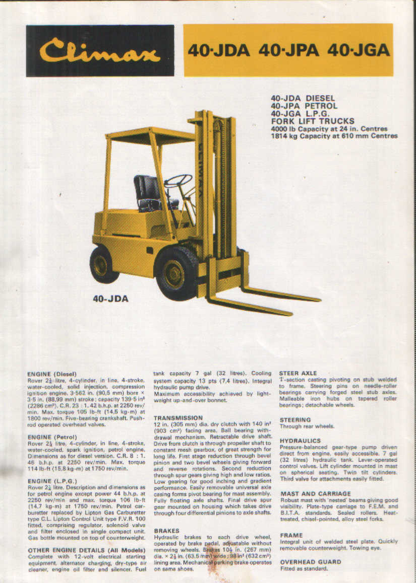 coventry climax forklift 40jda 40jpa 40jga brochure. Black Bedroom Furniture Sets. Home Design Ideas