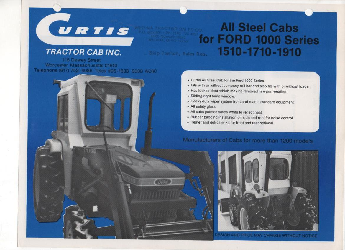 Curtis All Steel Cabs for Ford 1000 Series (1510-1710-1910) Brochure