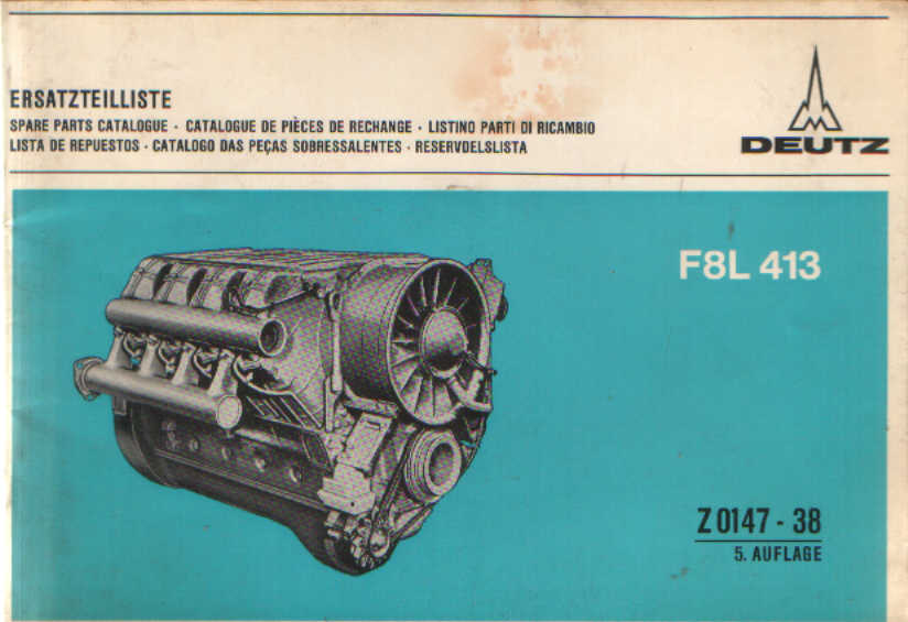 home > engine, transmission and pump manuals > deutz engine manuals � deutz  engine f8l 413 parts manual