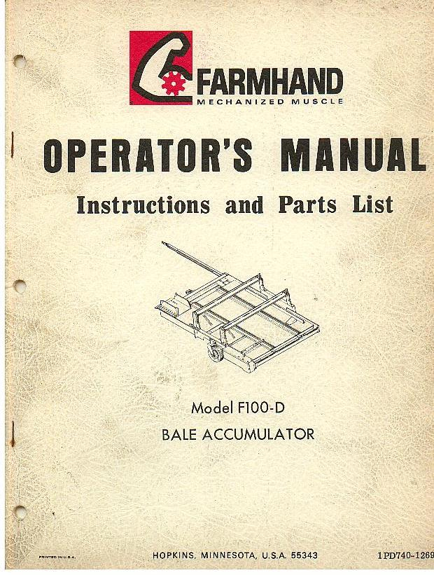 farmhand bale accumulator f100 d operators manual with parts list rh agrimanuals com manual baleno hatchback manual bale press machine