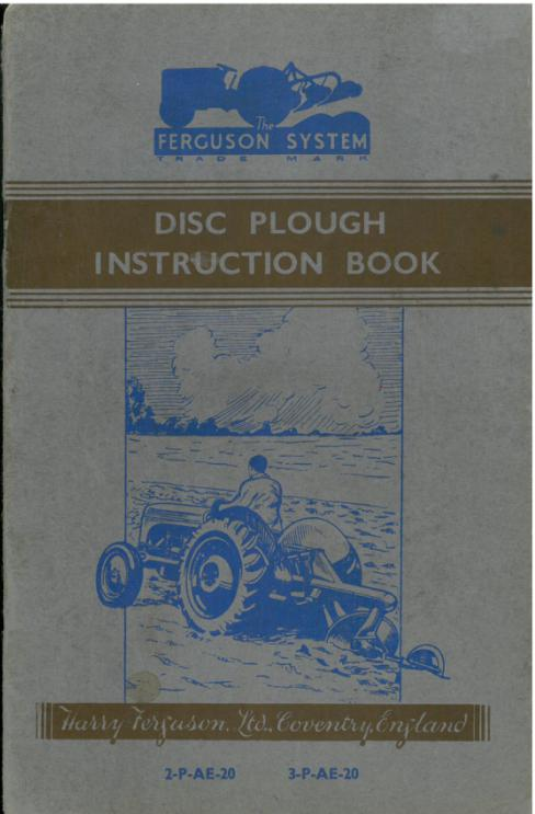 Other Manual Ferguson Disc Plough Instruction Book ................................