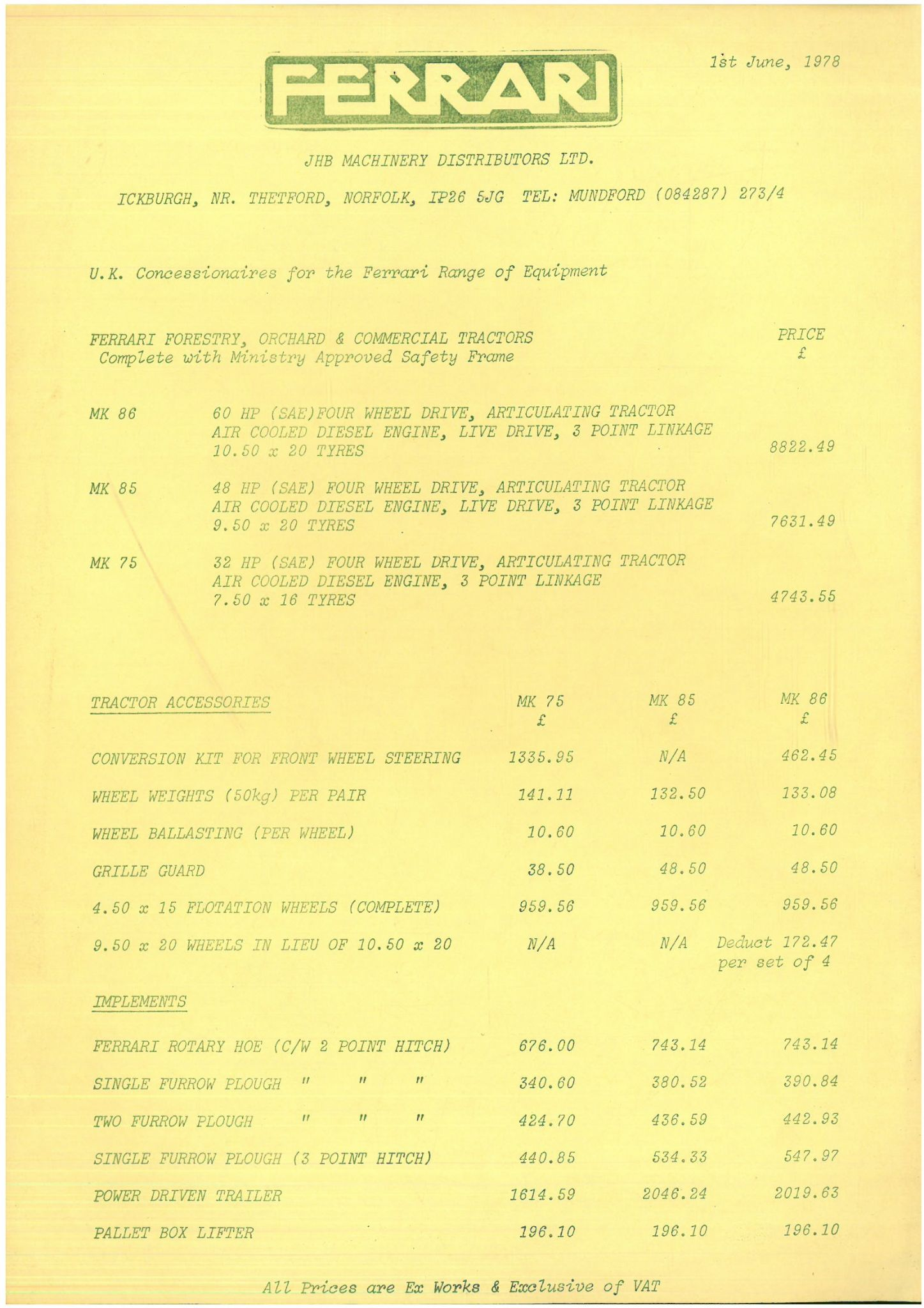 Ferrari Tractor Mk75 Mk85 Mk86 Price List Dated 1st June 1978