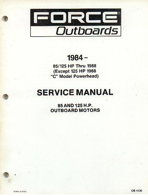 Force Outboards 1984 - 85 125 HP Thru 1988 Except 125HP ...