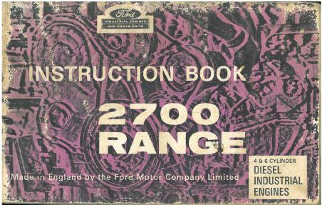 Ford Diesel Engine 2700 Range Operators Manual - 2701E 2703E 2704E 2706E 2708E 2709E