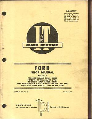 ford fordson power major super  tractor service