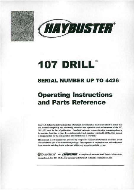 Haybuster 107 Drill Operators Manual With Parts List