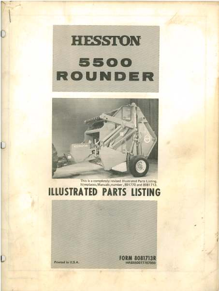 Hesston Baler 5500 Rounder Parts Manual