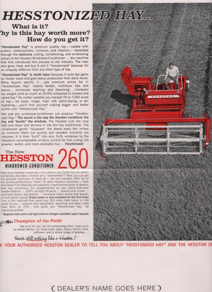 Hesston Windrower-Conditioner Model 260 Promotion Brochure