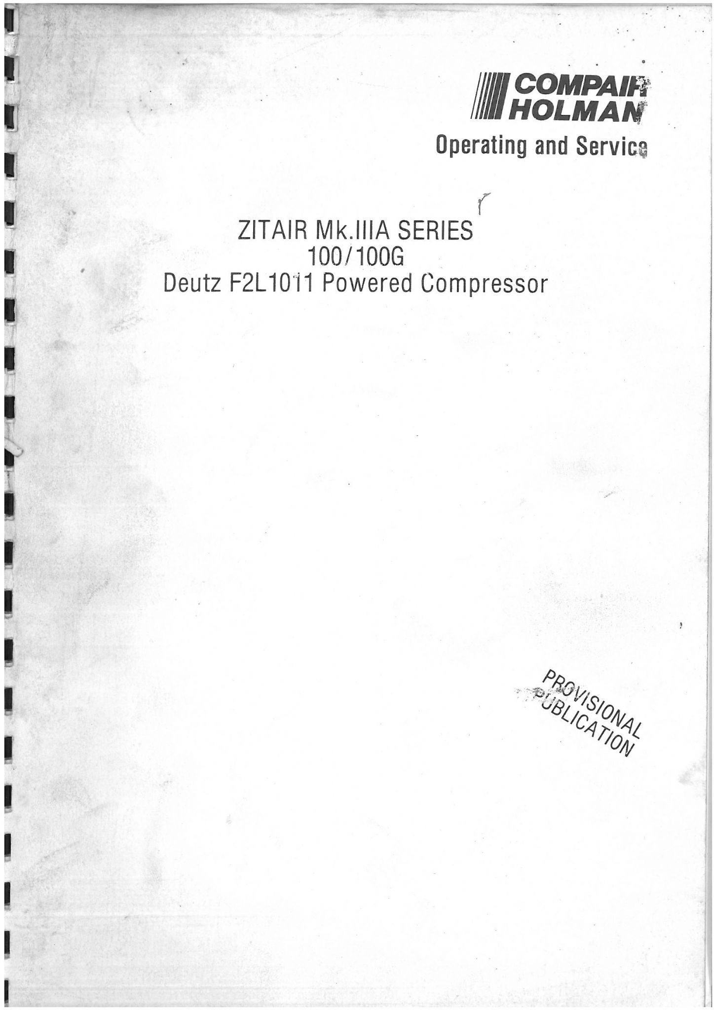 Holman Compair Zitair Mk.IIIA Series 100 100G Portable Air Compressor  Operators Manual