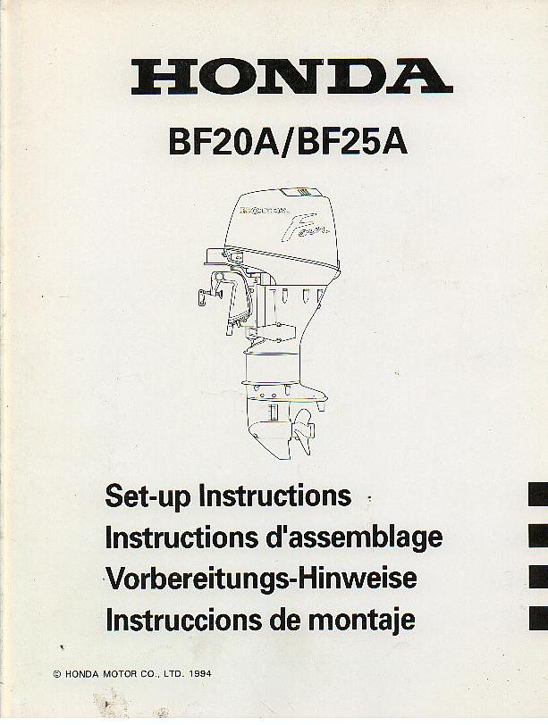 Honda Marine Outboard Motor BF20A BF25A Set-up Instruction Manual