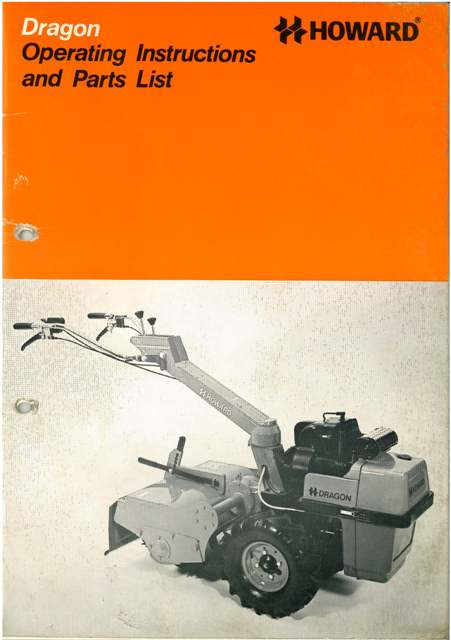 Howard Dragon Rotavator Operators Manual With Parts List