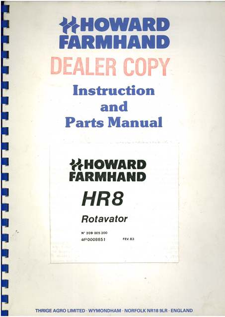 Howard Farmhand Rotavator Hr8 Operators Manual With Parts List