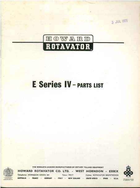 Howard Rotavator E Series Iv Parts Manual