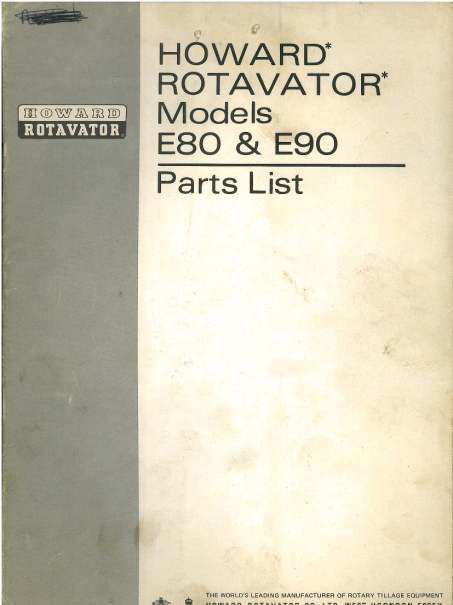 Howard Rotavator E80  U0026 E90 Parts Manual