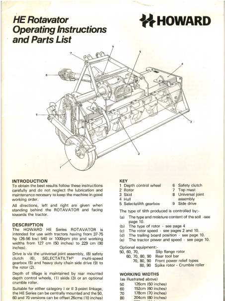 Howard Rotavator He 50 60 70 80 90 Operators Manual With Parts List