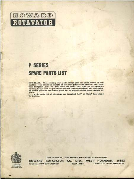 Howard Rotavator P Series Parts Manual
