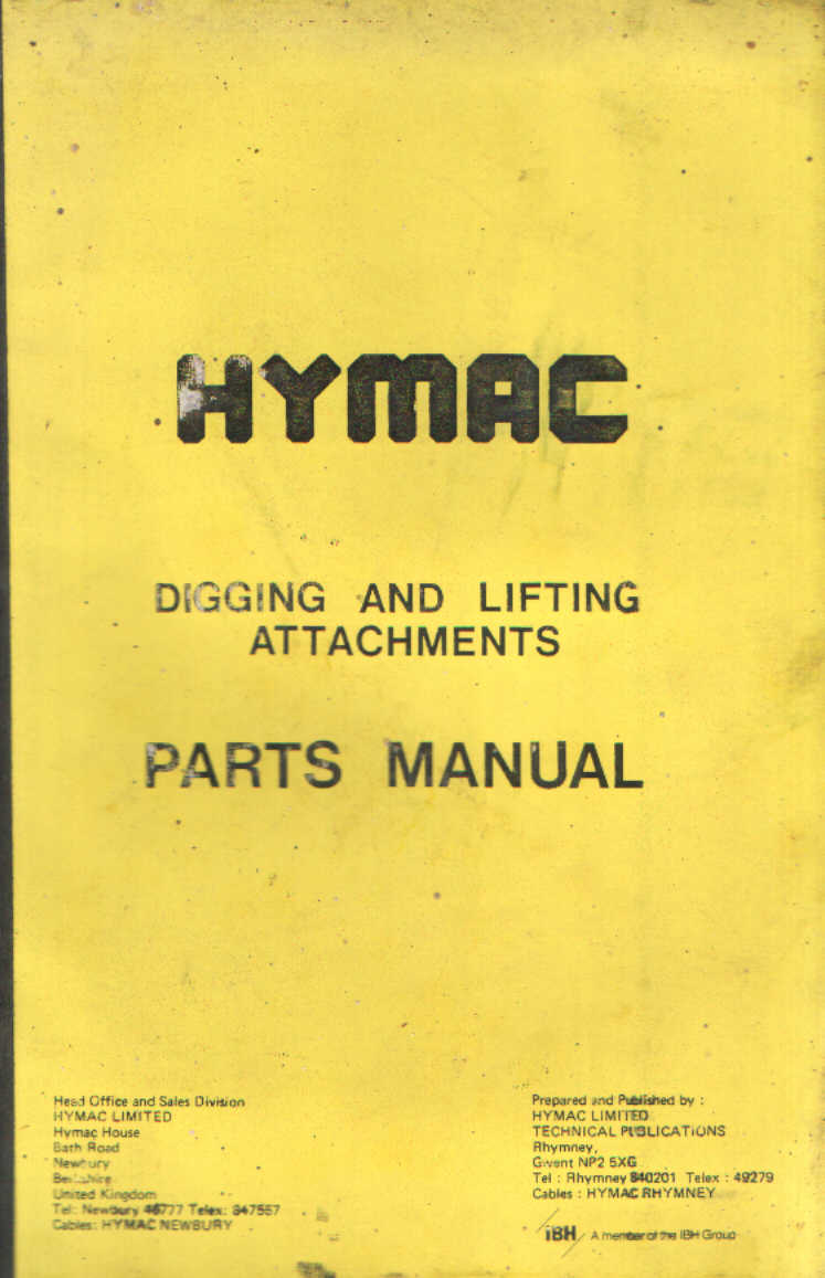 hymac digging and lifting attachments for models 370c 580c 590 590c 595 596  610 690 890 parts manual ...
