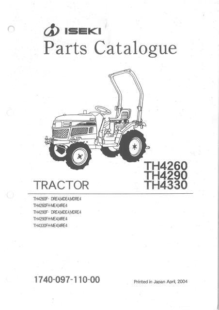 Iseki Tractor Th4260 Th4290 Th4330 Parts Manual