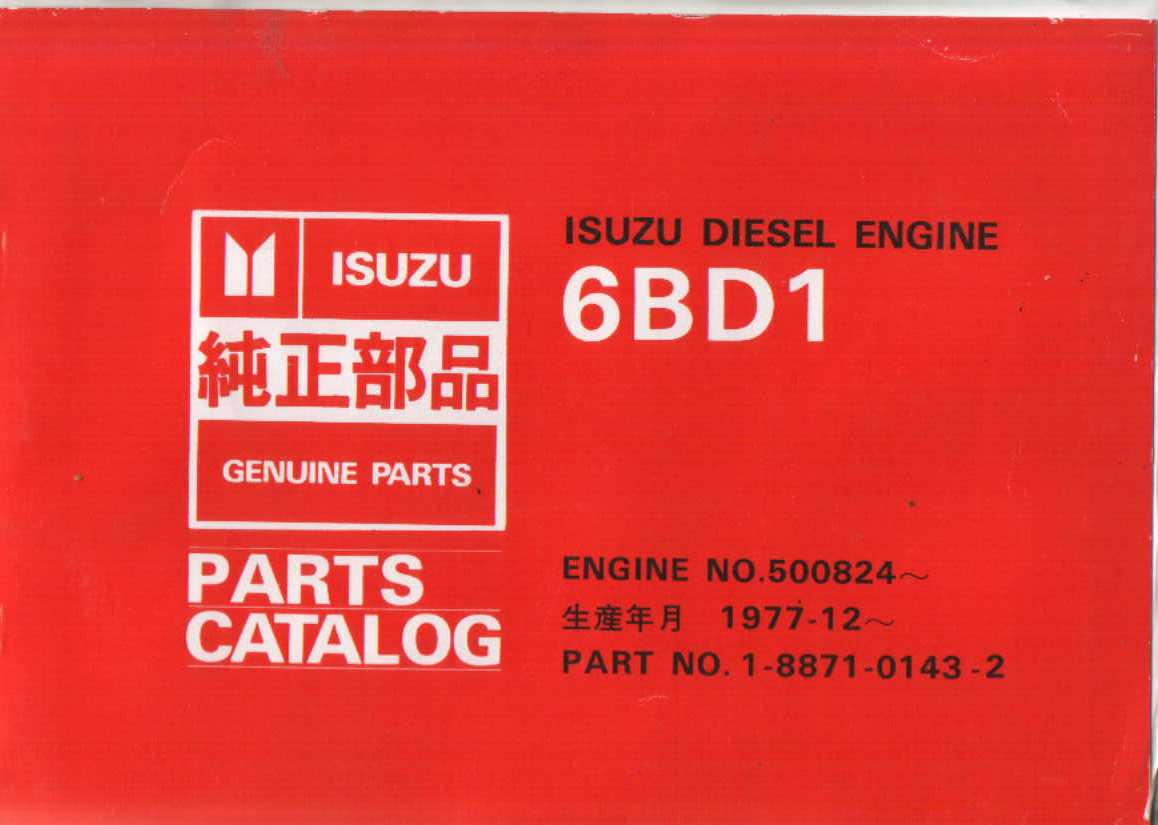 Isuzu Diesel Engine 6bd1 Parts Manual 6bb1 Diagram