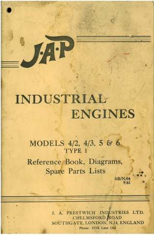 JAP Industrial Engine Models 4/2 4/3 5 & 6 Type 1 User's Manual with Parts List