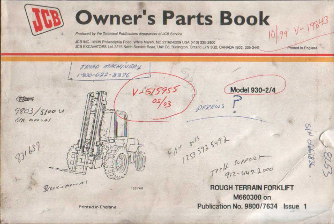 Jcb 930 Forklift Wiring Diagram 926 Fork Lift Schematic 2 4 Rough Terrain Parts Manual