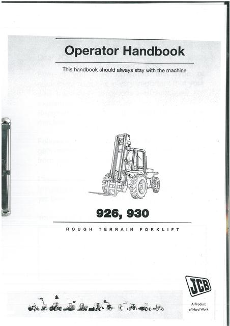 JCB Rough Terrain Forklift 926 & 930 Operators Manual on hyster forklift wiring diagram, crown forklift wiring diagram, toyota forklift wiring diagram, nissan forklift wiring diagram, komatsu forklift wiring diagram, mitsubishi forklift wiring diagram, jungheinrich forklift wiring diagram, daewoo forklift wiring diagram,