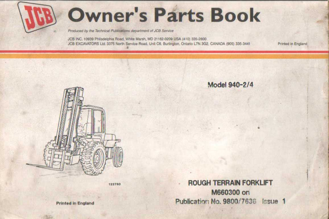 JCB Rough Terrain Forklift 940 - 2/4 Parts Manual on