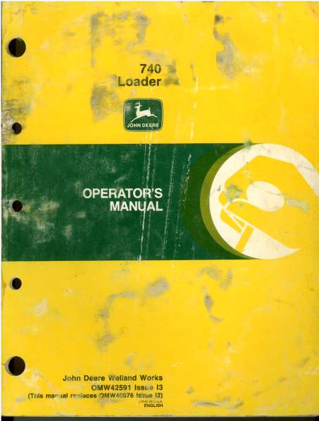 John Deere 740 Farm Loader Operators Manual