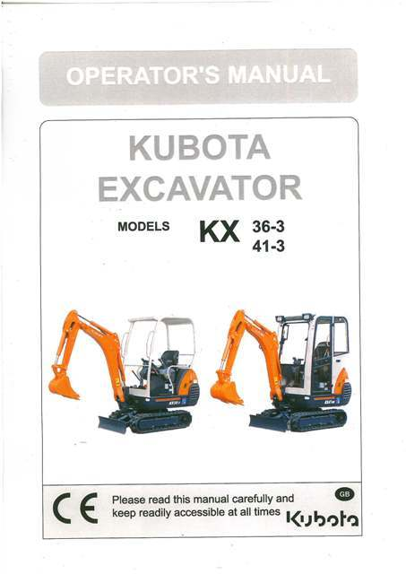 kubota excavator kx36 3 kx41 3 operators manual Standard Operating Manual Standard Operating Manual