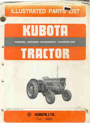 Kubota Tractor M4500, DT, OC Parts Manual