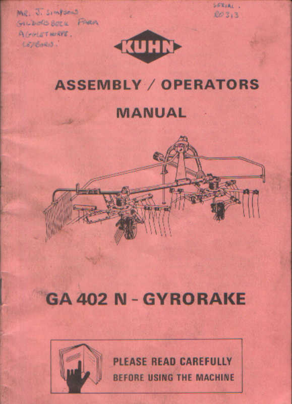 Kuhn Gyrorake Ga 402 N Operators Manual