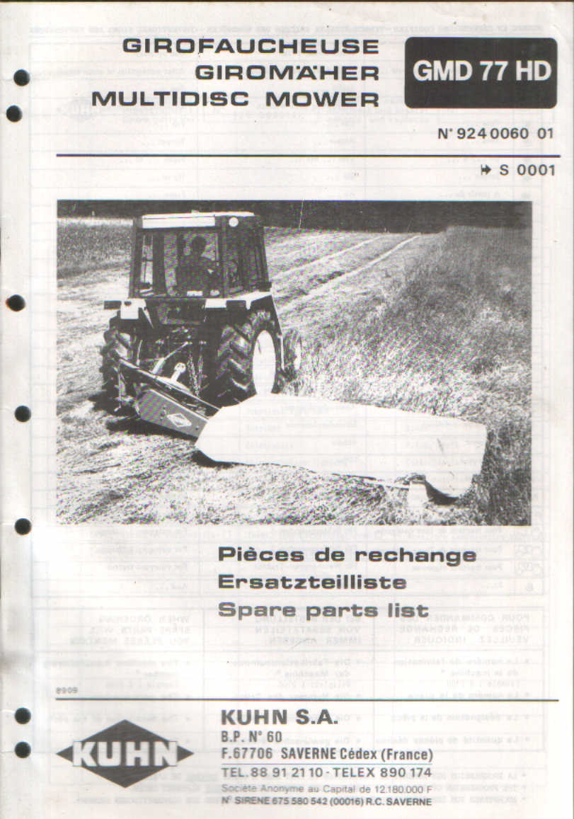 Kuhn Multidisc Mower Gmd77hd Parts Manual